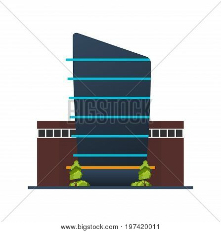 City Police Station Department Modern Building In Flat Style Isolated On White Background.