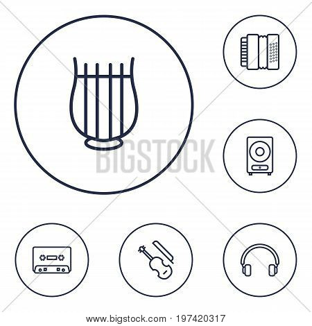 Collection Of Harmonica, Headphones, Loudspeaker And Other Elements.  Set Of 6 Melody Outline Icons Set.