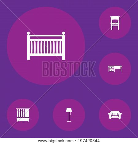 Collection Of Wardrobe, Stool, Couch And Other Elements.  Set Of 6 Situation Icons Set.