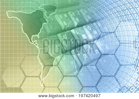 Map and digits - abstract computer background toned.