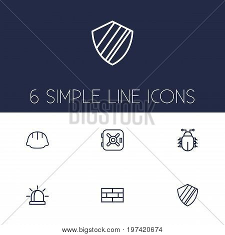 Collection Of Virus, Firewall, Worker And Other Elements.  Set Of 6 Procuring Outline Icons Set.