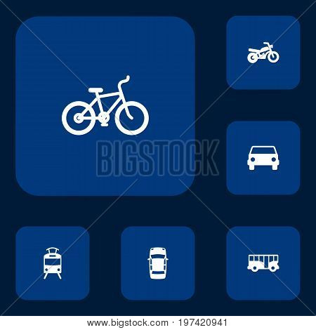 Collection Of Autobus, Panorama, Bicycle And Other Elements.  Set Of 6 Shipping Icons Set.