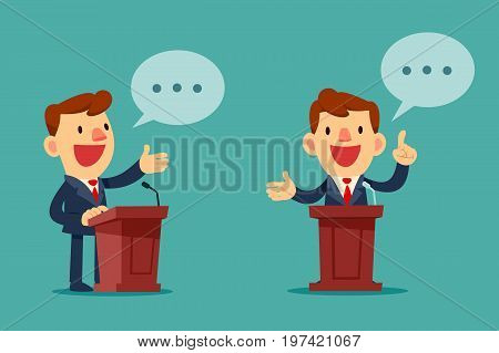Successful businessman giving a speech at podium. Public speaking concept.