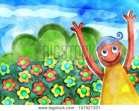 A digitally created watercolor style painting with a happy boy outdoors standing in a field full of flowers.