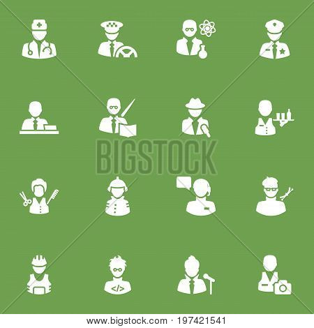 Collection Of Leaner, Coder, Cameraman And Other Elements.  Set Of 16 Professions Icons Set.