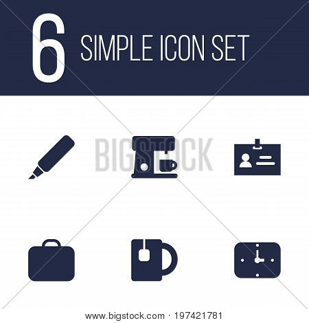 Collection Of Time, Cup, Espresso And Other Elements.  Set Of 6 Bureau Icons Set.
