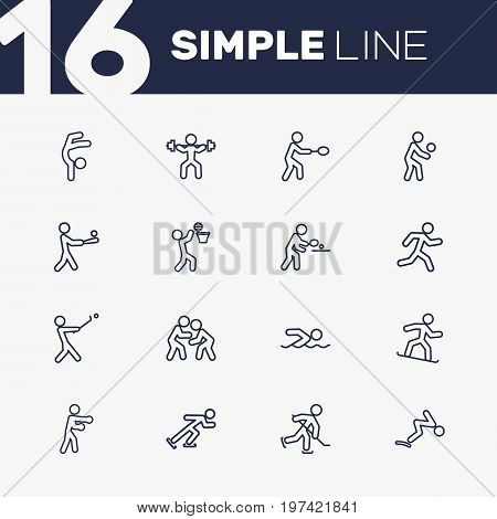 Collection Of Box, Rocket, Swimming And Other Elements.  Set Of 16 Sport Outline Icons Set.