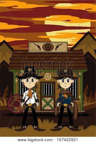 Cute Cartoon Wild West Cowboys at Jailhouse