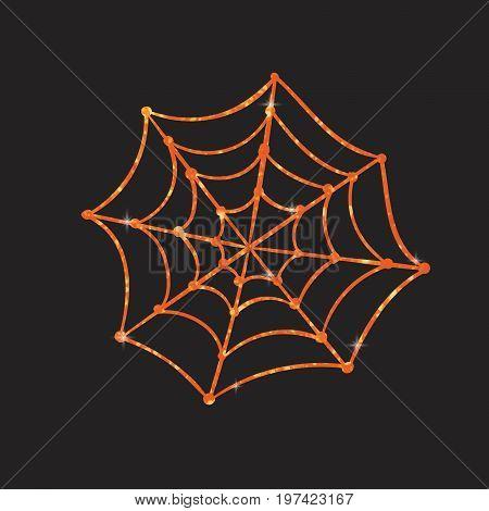 Orange glitter silhouette Halloween holiday design element spyder web flat icon
