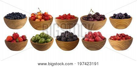 Collage of different fruits and berries isolated on white. Set of strawberries raspberries currants blackberries gooseberries bilberries and cherries. Sweet and juicy berry with copy space for text. Ripe strawberries close-up. Background berry.
