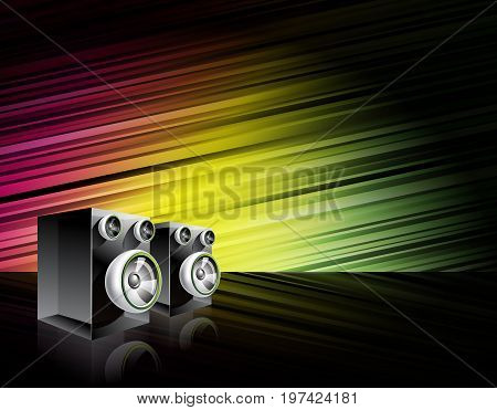 Abstract vector shiny background with speakers on shiny background