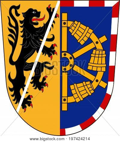 Coat of arms of Erlangen-Hochstadt in Middle Franconia Bavaria of German. Vector illustration from the