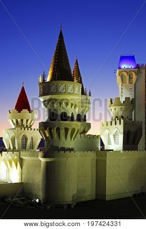 Excalibur Hotel & Casino In Las Vegas At Night