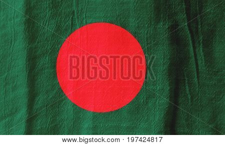 Bangladesh Fabric Flag  National Flag From Fabric For Graphic Design.