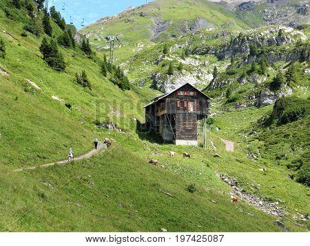 Footpath and wooden chalet in a valley near Engelberg, Switzerland