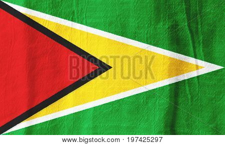 Guyana Fabric Flag  National Flag From Fabric For Graphic Design.
