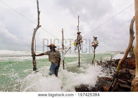 Pole Fishermen in Sri Lanka september 2016. Traditional fishing for Sri Lanka in Indian ocean.