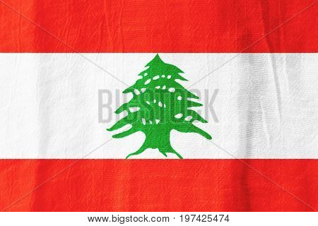 Lebanon Fabric Flag  National Flag From Fabric For Graphic Design.