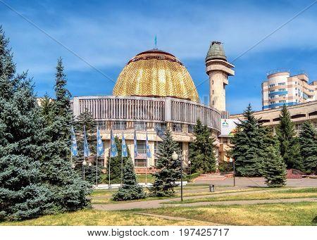 Almaty Kazakhstan - July 14 2017: The Almaty palace of schoolchildren was built in the city of Alma-Ata in 1983. Architects V. Kim A. Zuev T. Abildaev.