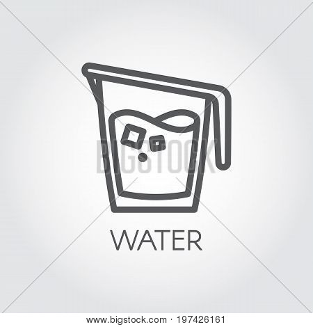 Icon in linear style with water jug or other abstract drink. Cookery simplicity pictograph. Vector illustration