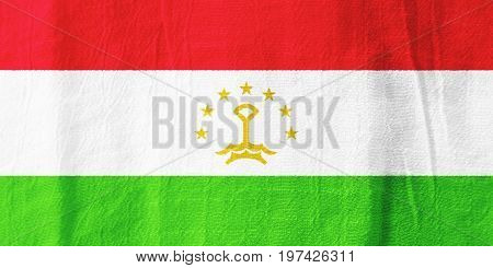 Tajikistan Fabric Flag  National Flag From Fabric For Graphic Design.