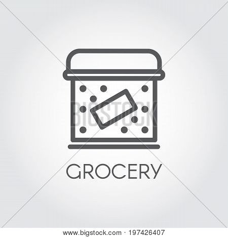 Food box line icon. Grocery concept. Cookery simplicity pictograph. Vector illustration