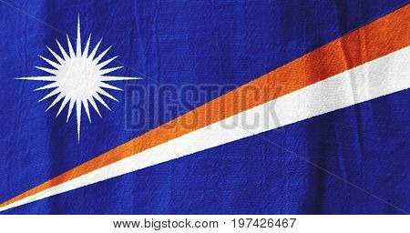The Marshall Islands Fabric Flag  National Flag From Fabric For Graphic Design.