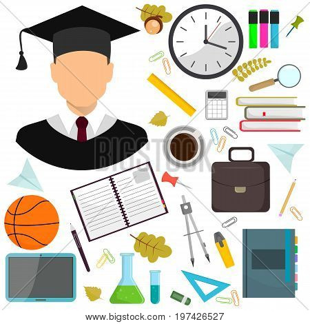 Vector illustration flat illustration of school supplies. A fellow pupil icon.Isolated schools working education accessories on white background. Infographic elements for web, presentations.