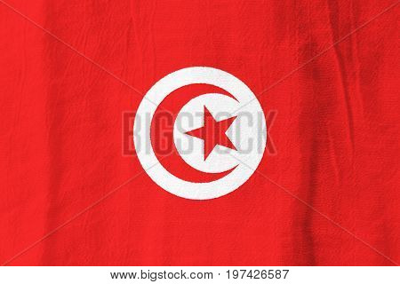 Tunisia Fabric Flag  National Flag From Fabric For Graphic Design.
