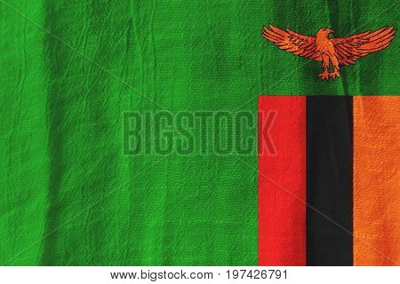Zambia Fabric Flag  National Flag From Fabric For Graphic Design.