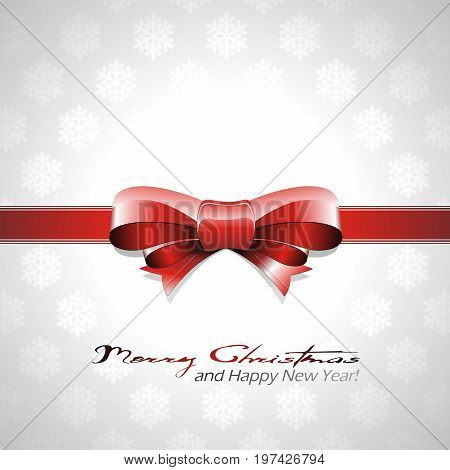 Vector Christmas Background With Red Bow And Ribbon.