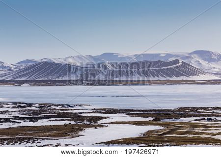 Myvatn Volcano winter seasion natural landscape with clear blue sky background Iceland