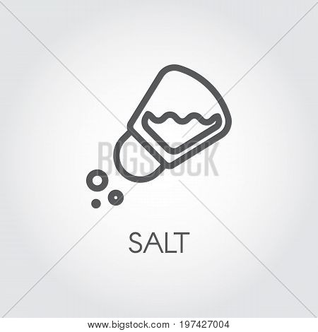 Salt shaker seasoning icon in line style. Outline pictogram for food cooking theme. Simple emblem of spice. Vector illustration