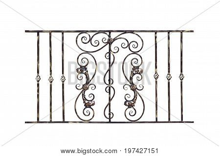Decorative wrought railing fence in old style. Isolated over white background.