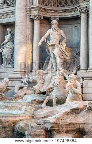Sunset view of Rome Trevi Fountain in Rome, Italy. Trevi is most famous fountain of Rome. Architecture and landmark of Rome. Postcard of Rome
