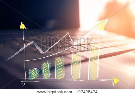 Business Economic And Technology Working Concept. Close Up Keyboard Notebook Window Light Double Exp