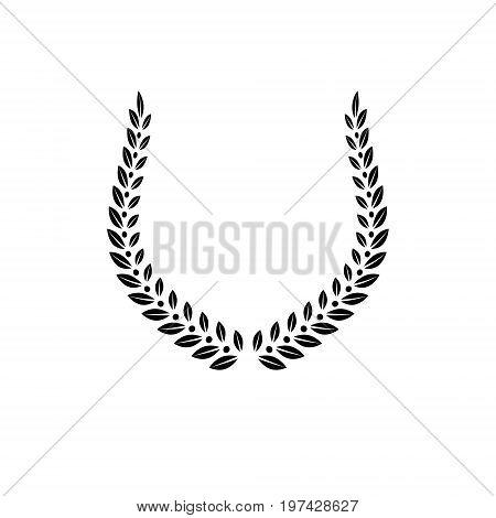 Laurel Wreath floral ancient emblem created in horseshoe shape. Heraldic vector design element. Retro style label heraldry logo.
