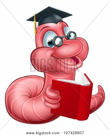 An illustration of a happy cute cartoon caterpillar worm mascot wearing glasses and graduation hat and reading a book