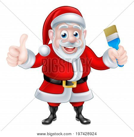 Christmas cartoon Santa Claus holding a paint brush and giving a thumbs up