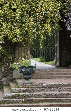 Beautiful English Country Garen Landscape Image Wth Hanging Flowers And Vintage Steps And Plant Urns