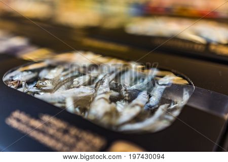 Macro Closeup Of Box With Dried Anchovies