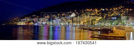 Croatian Town Opatija in the Night Panorama
