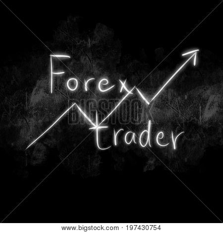 Business Economic Financial And Trading Money Stock Working Concept. Graph And Forex Trader Words On
