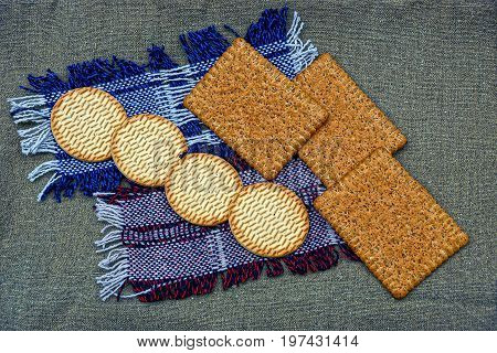 A set of biscuits and biscuits on a wool napkin