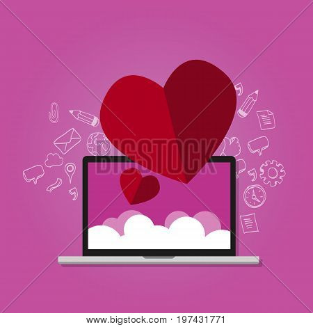 love shape on laptop with cloud screen online dating romantic celebration internet vector