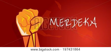 Indonesia independence merdeka hand fist arm Indonesia red vector