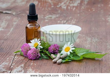 Herbs tincture herb tea and herb capsules from clover leaves of a nettle and on a wooden surface. Herbal Medicine.
