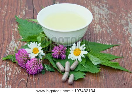 Herbs tea and herb capsules from clover leaves of a nettle and raspberry on a wooden surface. Herbal Medicine.