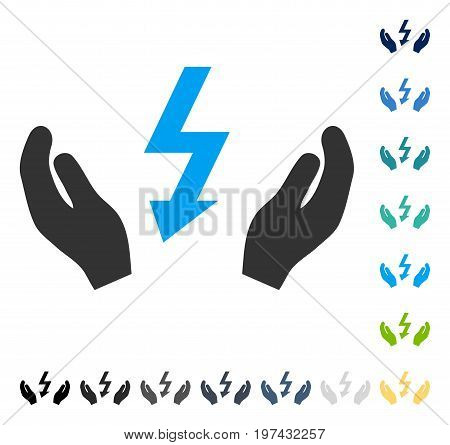 Electrical Power Maintenance Hands icon. Vector illustration style is flat iconic symbol in some color versions.
