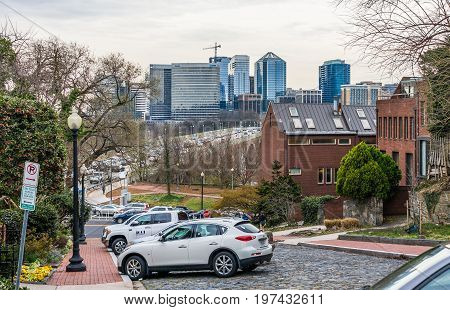 Washington Dc, Usa - March 20, 2017: Georgetown Neighborhood With Steep Street With View Of Key Brid